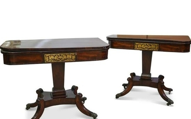 (2 Pc) Antique English Game Tables