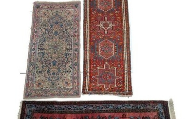 [3] Antique Hand-Knotted Wool Scatter Rugs. 1) Maroon
