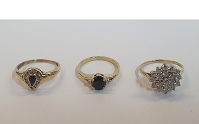3 x 9ct rings, one yellow gold pear cut Sapphire ring, one y...