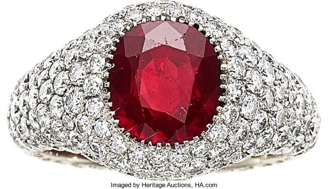 55228: Burma Ruby, Diamond, White Gold Ring The ring