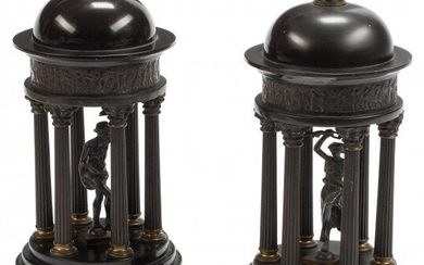61028: A Pair of Grand Tour Patinated Bronze Temple-For