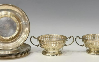 8) R. WALLACE & SONS STERLING CUP FRAMES & SAUCERS