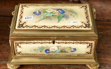 A 19TH CENTURY FRENCH BRASS AND HAND PAINTED PORCELAIN FOOTED SEWING BOX WITH ENAMEL DECORATION