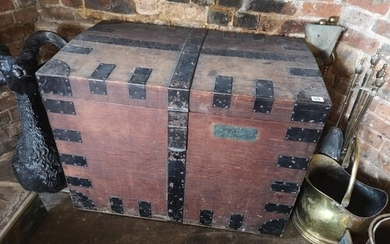 A 19TH CENTURY OAK AND IRON BOUND SILVER CHEST With internal...