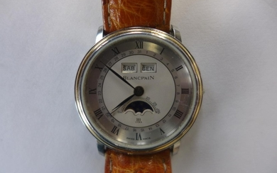 A Blancpain gold and steel Villaret triple date moon phase g...