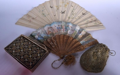 A CARVED BONE FAN, together with another fan and two
