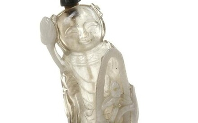 A CHINESE PEKING GLASS 'BOY AND LOTUS' SNUFF BOTTLE