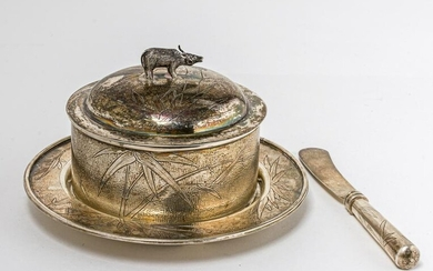 A CHINESE SILVER BOWL, DISH AND KNIFE, marked
