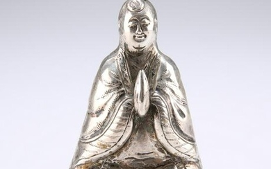 A CHINESE SILVER BUDDHA PEPPER POT, with hands in