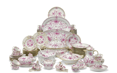A COMPOSITE MEISSEN PORCELAIN PURPLE 'INDIANISCHE BLUMEN' PATTERN PART TABLE-SERVICE, 20TH CENTURY, BLUE CROSSED SWORDS MARKS, AND CANCELLED BLUE CROSSED SWORDS MARKS, VARIOUS PRESSNUMMERN, INCISED LETTERS AND NUMERALS AND VARIOUS PAINTERS MARKS