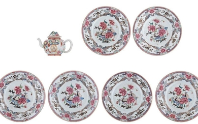 A Chinese Chinese famille rose export porcelain teapot, relief decorated...