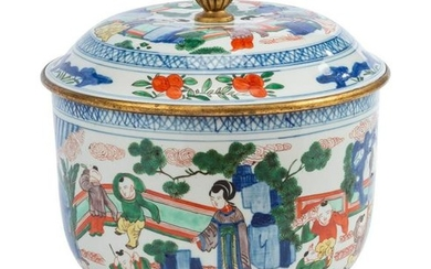 A Chinese Gilt Metal Mounted Famille Verte Porcelain