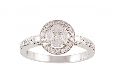 A DIAMOND CLUSTER RING, set with marquise, brilliant and bag...
