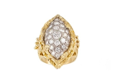 A DIAMOND CLUSTER RING, the pavé set brilliant cut diamonds ...