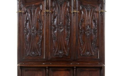 A French Carved Walnut Hall Tree