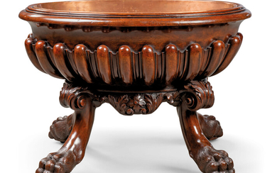A GEORGE II MAHOGANY WINE COOLER