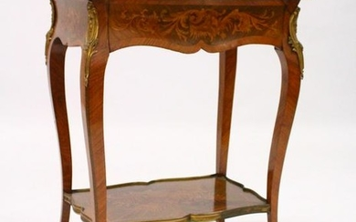 A GOOD FRENCH STYLE MARQUETRY AND ORMOLU OCCASIONAL