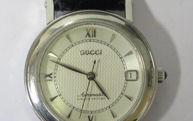 A GUCCI 7400 AUTO Limited Edition Exhibition Back Wristwatch...