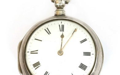 A Georgian sterling silver pair cased fusee verge pocket watch