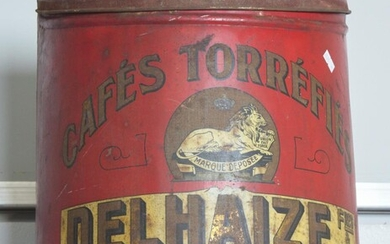A LARGE 19TH CENTURY FRENCH CAFE TORREFIES DELHAIZE ADVERTISING TIN