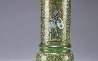 A LATE 19TH CENTURY BOHEMIAN GLASS VASE, of sleeve form