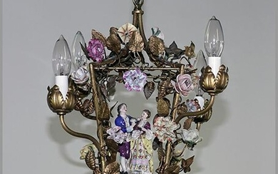 A Louis XV Style Ormolu and Porcelain Mounted Hanging