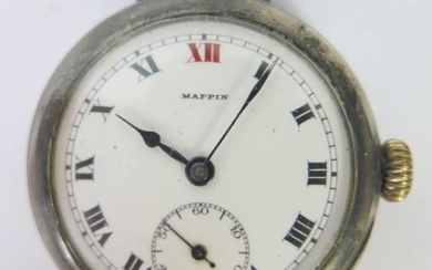 A Mappin Silver Cased Trench Watch, the 35mm case with ename...