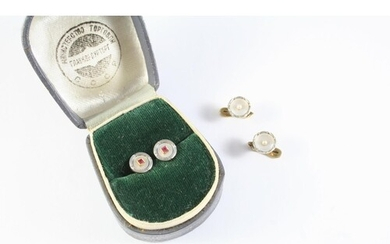 A PAIR OF MOTHER OF PEARL AND RUBY DRESS BUTTONS each mother...