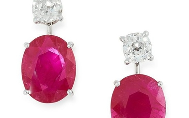 A PAIR OF RUBY AND DIAMOND EARRINGS in high carat white