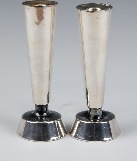 A PAIR OF STERLING SILVER CANDLESTICKS BY BIER