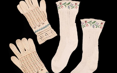 A Pair of 19th Century Knitted and Beaded Gloves for...