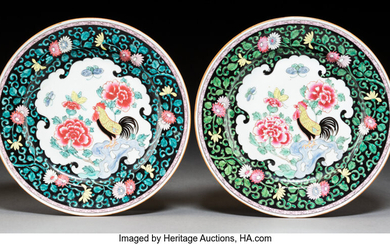 A Pair of Chinese Famille Rose Porcelain Rooster Plates
