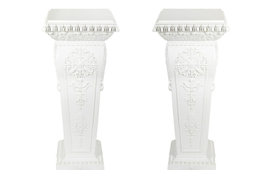 A Pair of White Painted Carved Wood Pedestals