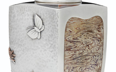 A RARE AMERICAN SILVER AND MIXED-METAL TEA CADDY, MARK OF TIFFANY & CO., NEW YORK, 1877-1891