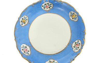 A RUSSIAN HAND-PAINTED PORCELAIN PLATE BY KORNILOV