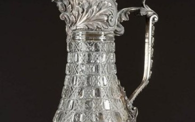 A SILVER-MOUNTED GLASS DECANTER 2nd half 20th century