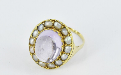 A VICTORIAN AMETHYST AND SPLIT PEARLS RING