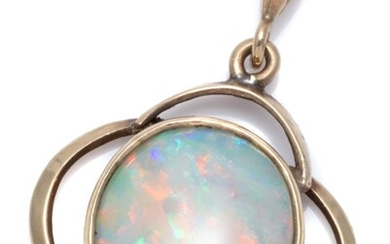 A VINTAGE 9CT GOLD OPAL PENDANT; rub set with a 12 x 11mm solid opal with good colour display in a quatrefoil shape frame, wt. 2.3g.