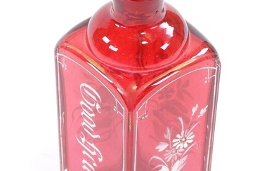 A Victorian cranberry glass square-section spirit decanter, ...
