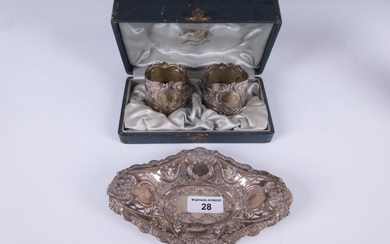 A Victorian silver shaped oval Trinket Dish, pierced and...