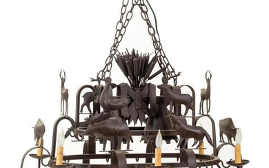 A Wrought Iron Six-Light Chandelier