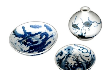 A collection of Chinese blue and white porcelain items, to i...