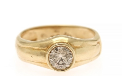 A diamond ring set with a brilliant-cut diamond weighing app. 0.75 ct., mounted in 14k gold. Colour: J. Clarity: P1. Size 57.