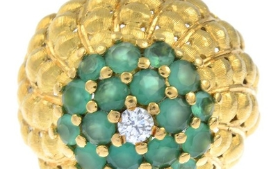A green chrysoprase and diamond dress ring. Estimated...