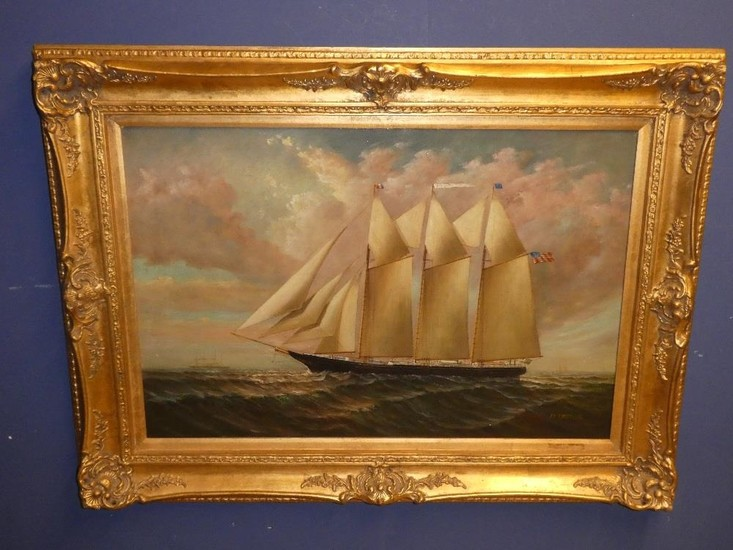 A large C19th Oil on canvas 'Seascape' in gilt frame, signed...