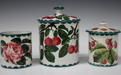 A large Wemyss preserve jar and cover, circa 1900, painted with cherries, impressed mark to base wit