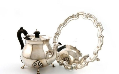 A late-Victorian silver teapot, by Charles Piling, London...