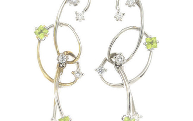 A pair of 18ct gold diamond and peridot earrings.