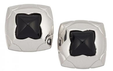 A pair of 18ct white gold and...
