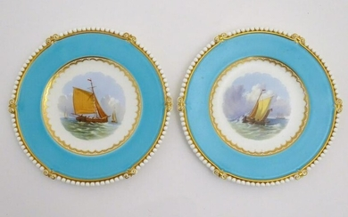 A pair of Copeland style marine dessert plates with
